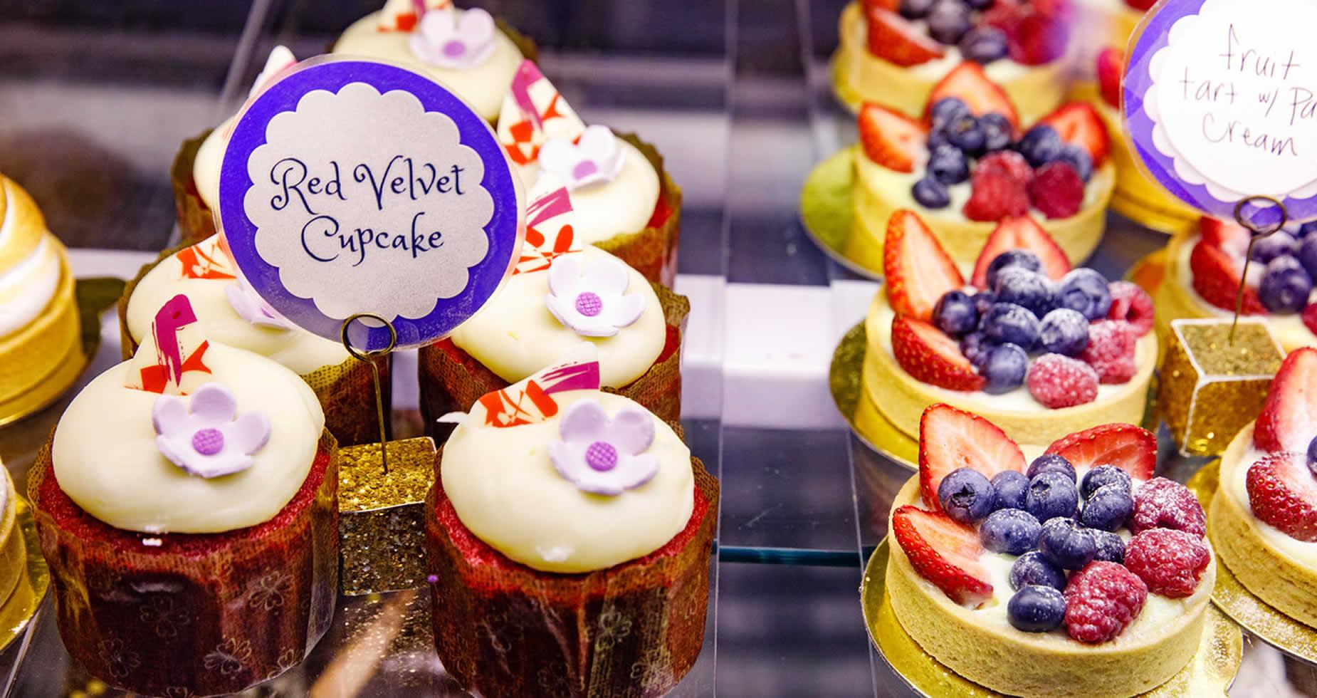 Red Velvet Cupcake & Fruit Tarts
